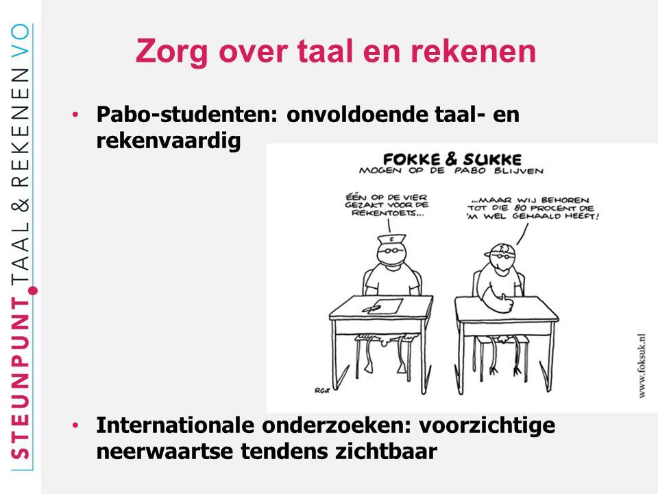 Zorg over taal en rekenen Pabo-studenten: onvoldoende taal- en rekenvaardig Internationale onderzoeken: voorzichtige neerwaartse tendens zichtbaar