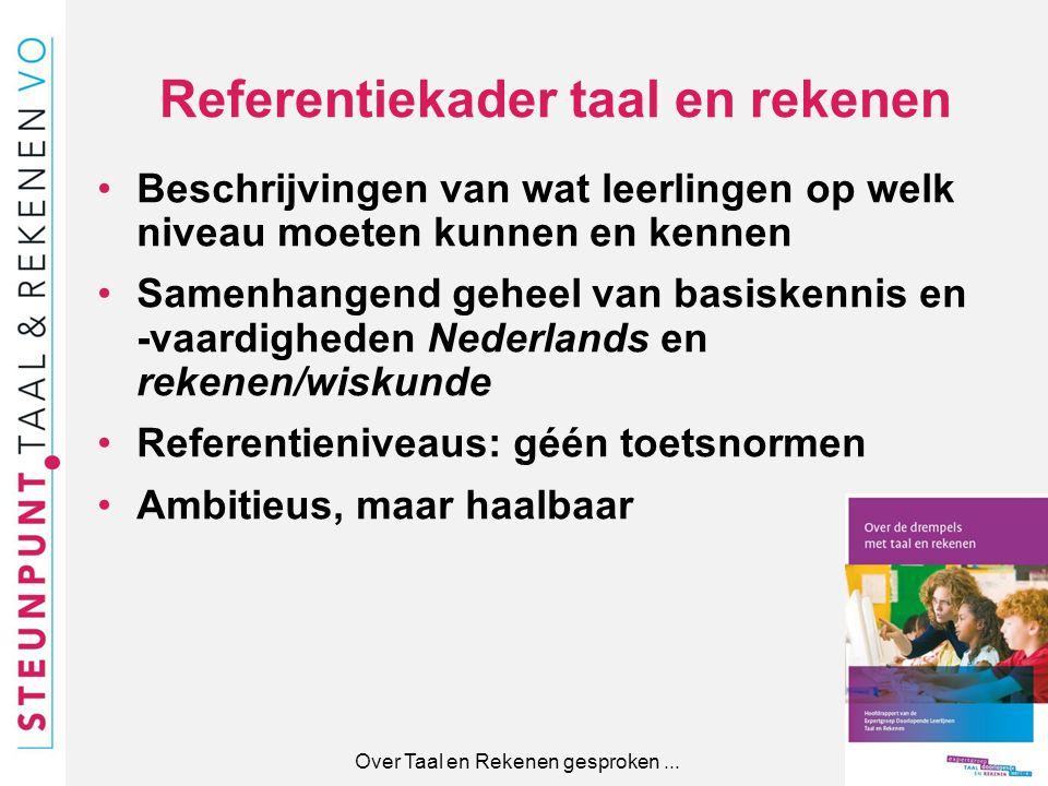 Referentiekader taal en rekenen Beschrijvingen van wat leerlingen op welk niveau moeten kunnen en kennen Samenhangend geheel van basiskennis en -vaard