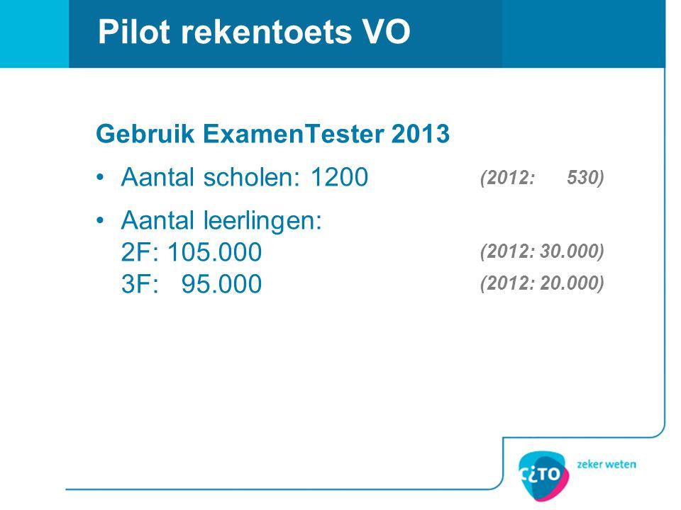 Gebruik ExamenTester 2013 Aantal scholen: 1200 Aantal leerlingen: 2F: 105.000 3F: 95.000 Pilot rekentoets VO (2012: 530) (2012: 30.000) (2012: 20.000)