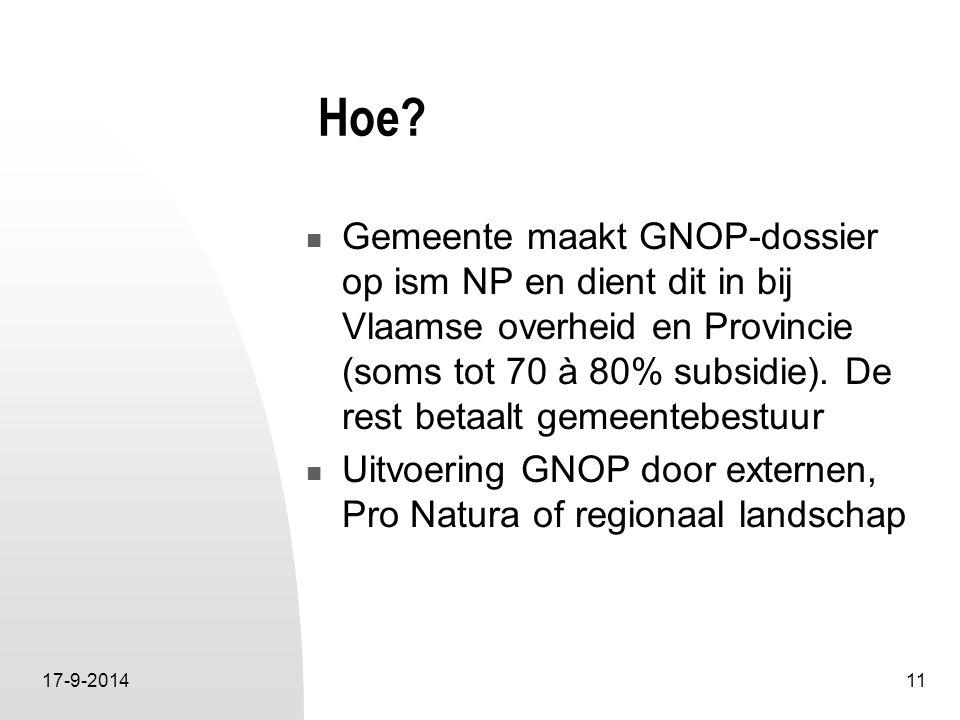 17-9-201411 Hoe? Gemeente maakt GNOP-dossier op ism NP en dient dit in bij Vlaamse overheid en Provincie (soms tot 70 à 80% subsidie). De rest betaalt