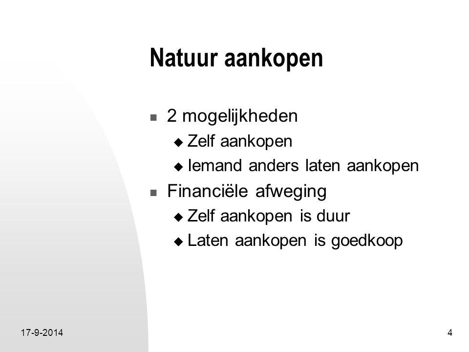 17-9-20144 Natuur aankopen 2 mogelijkheden  Zelf aankopen  Iemand anders laten aankopen Financiële afweging  Zelf aankopen is duur  Laten aankopen