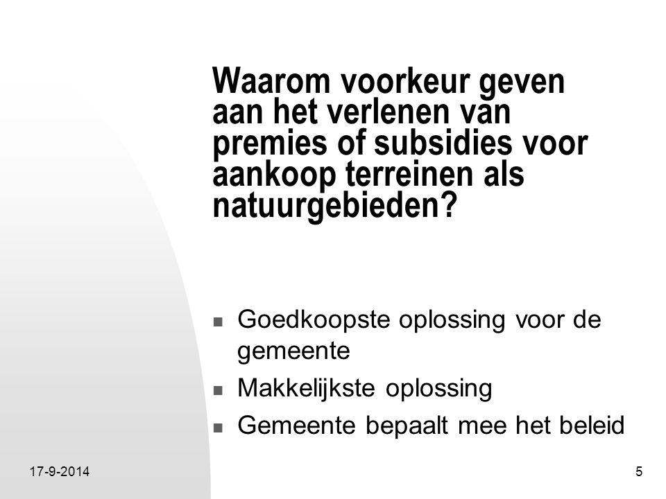 17-9-20146 Voordelen voor de gemeente Goedkoopste oplossing.