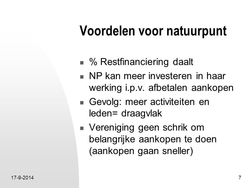 17-9-20147 Voordelen voor natuurpunt % Restfinanciering daalt NP kan meer investeren in haar werking i.p.v. afbetalen aankopen Gevolg: meer activiteit