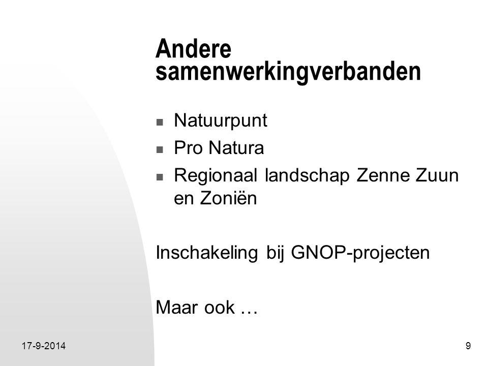 17-9-20149 Andere samenwerkingverbanden Natuurpunt Pro Natura Regionaal landschap Zenne Zuun en Zoniën Inschakeling bij GNOP-projecten Maar ook …