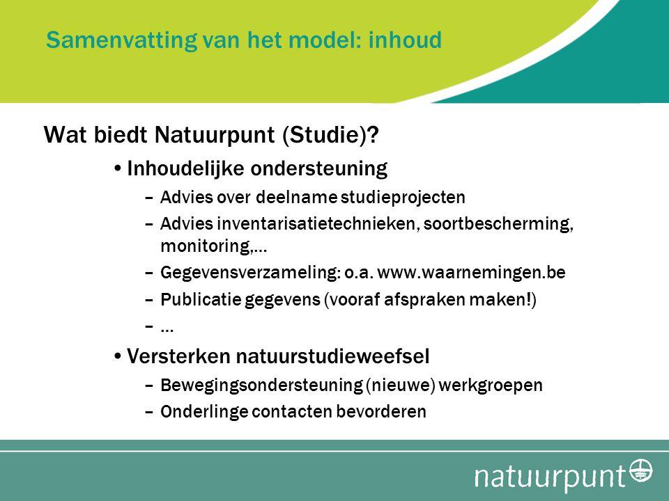Samenvatting van het model: inhoud Wat biedt Natuurpunt (Studie).