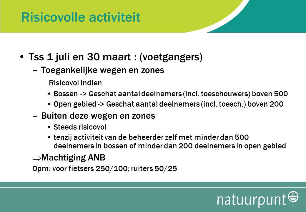 Risicovolle activiteit Tss 1 juli en 30 maart : (voetgangers) –Toegankelijke wegen en zones Risicovol indien Bossen -> Geschat aantal deelnemers (incl.
