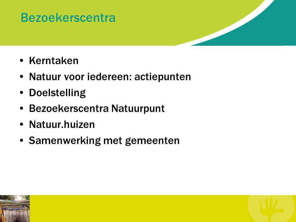Bezoekerscentra Kerntaken Natuur voor iedereen: actiepunten Doelstelling Bezoekerscentra Natuurpunt Natuur.huizen Samenwerking met gemeenten