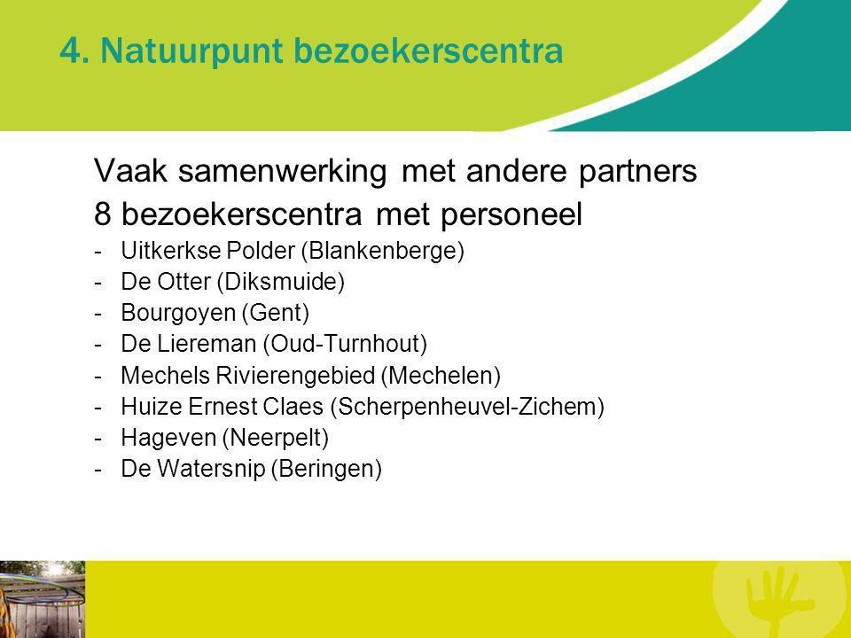 4. Natuurpunt bezoekerscentra Vaak samenwerking met andere partners 8 bezoekerscentra met personeel -Uitkerkse Polder (Blankenberge) -De Otter (Diksmu