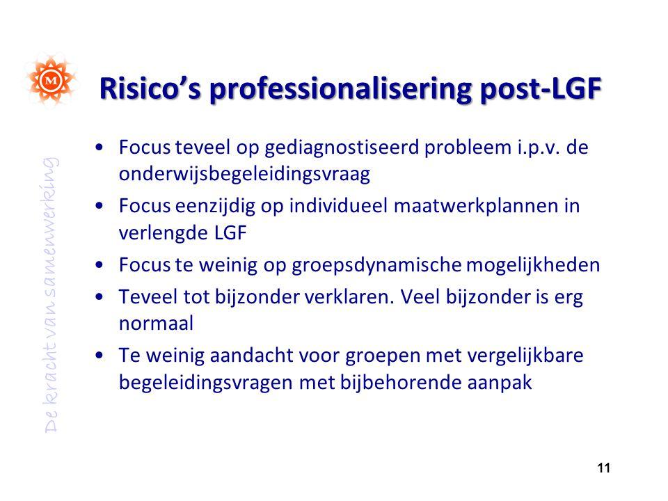 De kracht van samenwerking Risico's professionalisering post-LGF Focus teveel op gediagnostiseerd probleem i.p.v. de onderwijsbegeleidingsvraag Focus