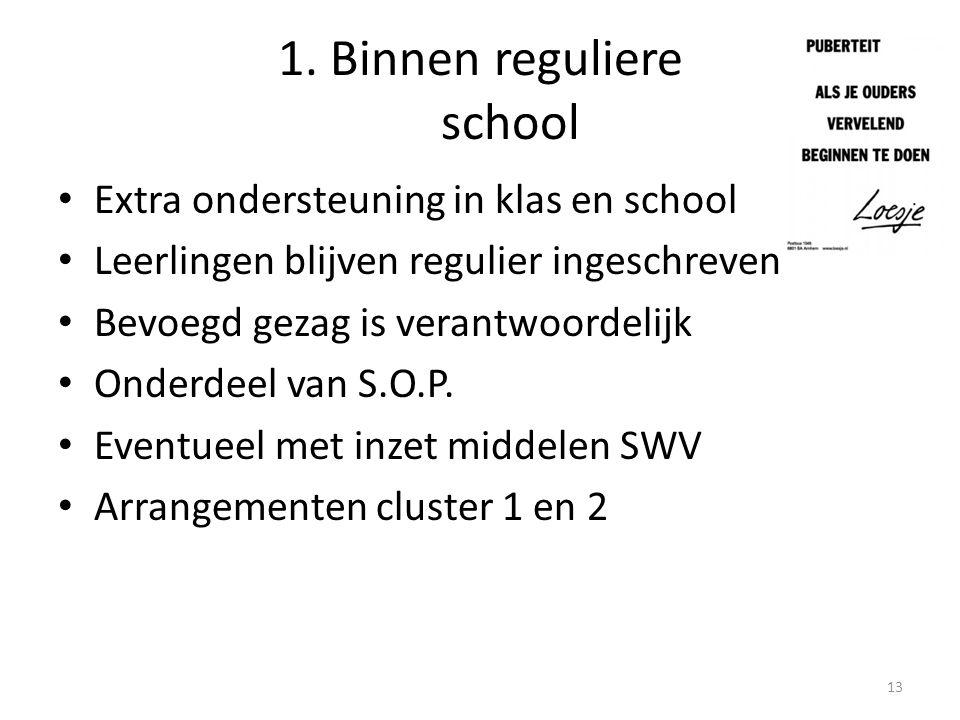 1. Binnen reguliere school Extra ondersteuning in klas en school Leerlingen blijven regulier ingeschreven Bevoegd gezag is verantwoordelijk Onderdeel