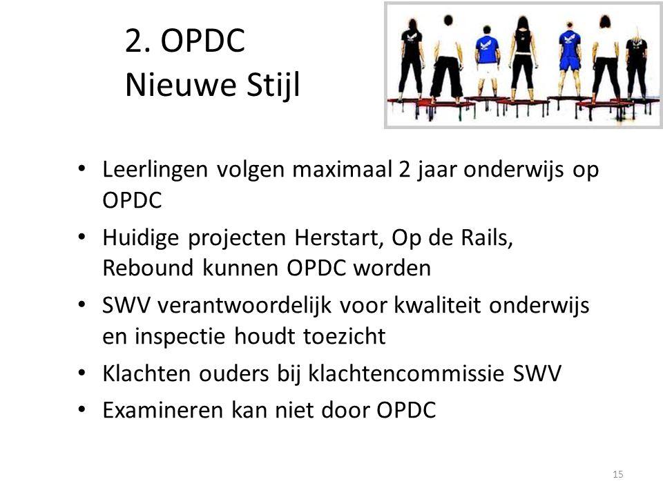2. OPDC Nieuwe Stijl Leerlingen volgen maximaal 2 jaar onderwijs op OPDC Huidige projecten Herstart, Op de Rails, Rebound kunnen OPDC worden SWV veran
