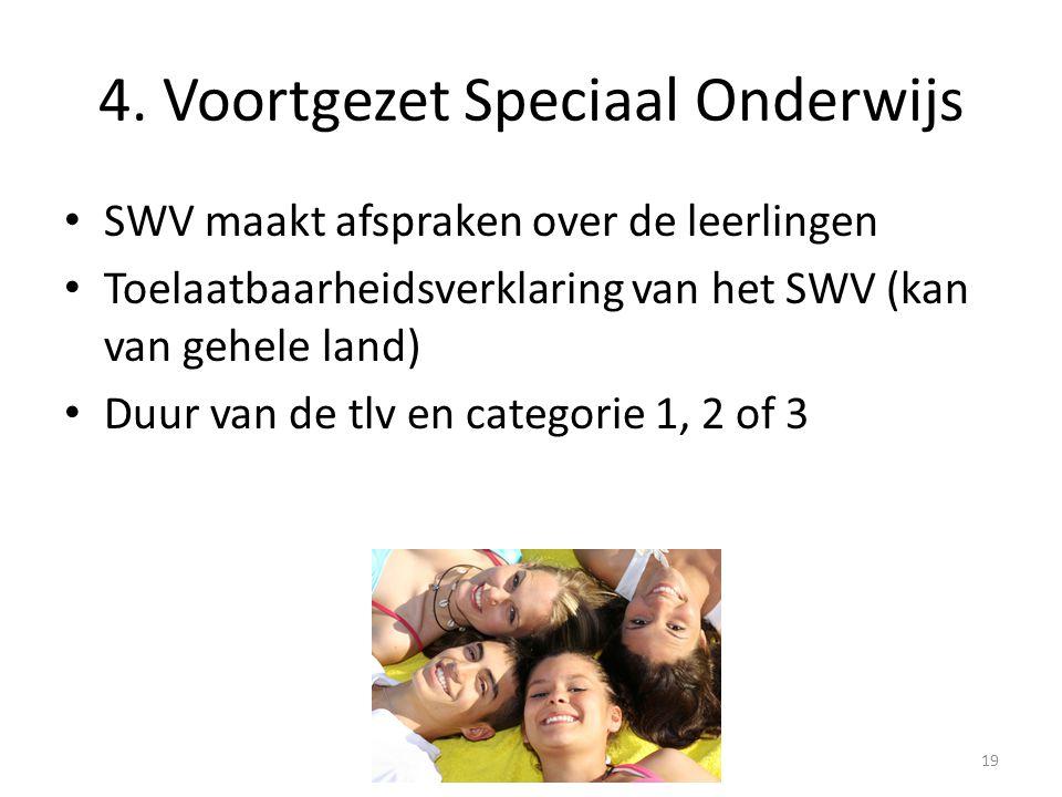 4. Voortgezet Speciaal Onderwijs SWV maakt afspraken over de leerlingen Toelaatbaarheidsverklaring van het SWV (kan van gehele land) Duur van de tlv e