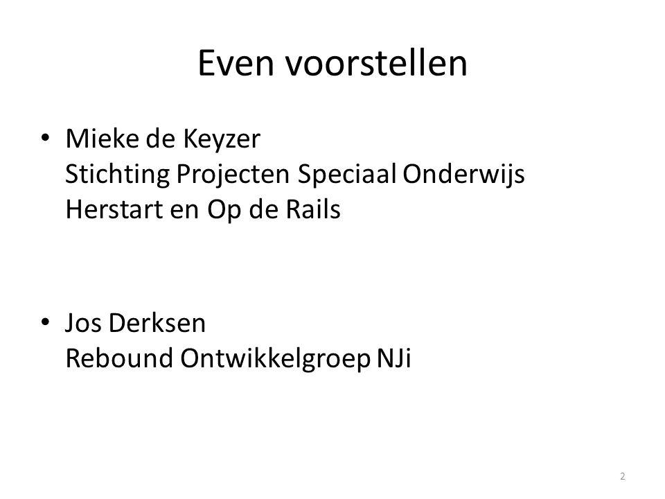 Even voorstellen Mieke de Keyzer Stichting Projecten Speciaal Onderwijs Herstart en Op de Rails Jos Derksen Rebound Ontwikkelgroep NJi 2