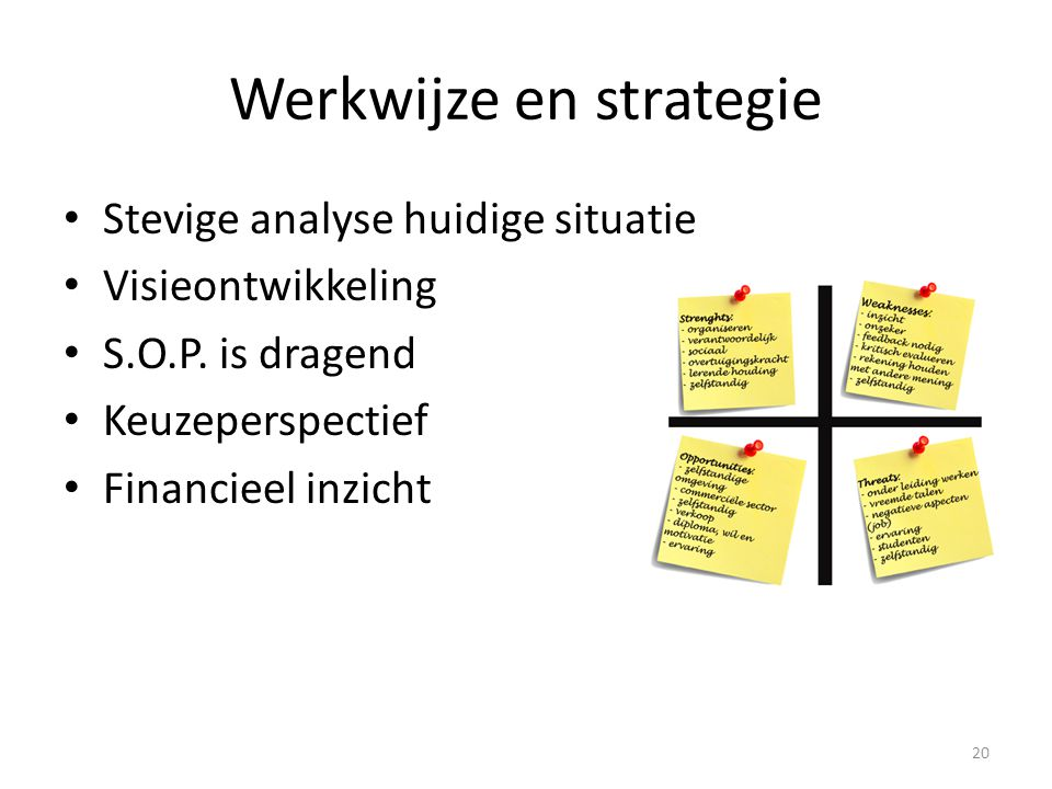 Werkwijze en strategie Stevige analyse huidige situatie Visieontwikkeling S.O.P. is dragend Keuzeperspectief Financieel inzicht 20