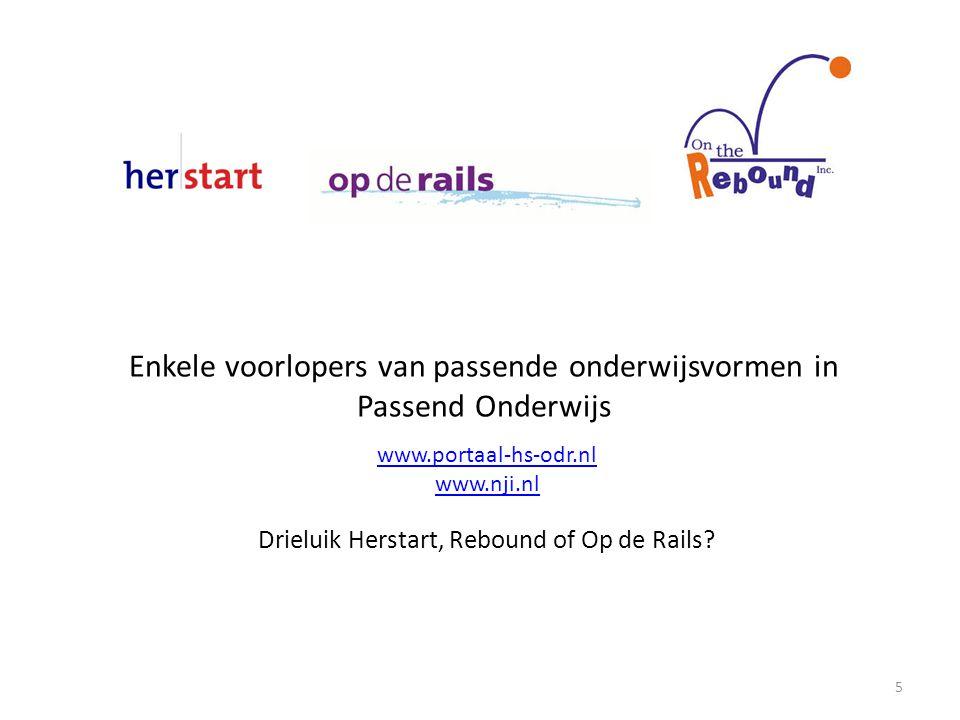 Enkele voorlopers van passende onderwijsvormen in Passend Onderwijs www.portaal-hs-odr.nl www.nji.nl Drieluik Herstart, Rebound of Op de Rails.