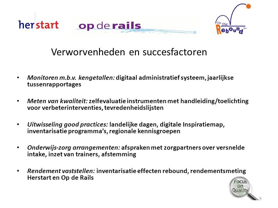 Verworvenheden en succesfactoren Monitoren m.b.v. kengetallen: digitaal administratief systeem, jaarlijkse tussenrapportages Meten van kwaliteit: zelf