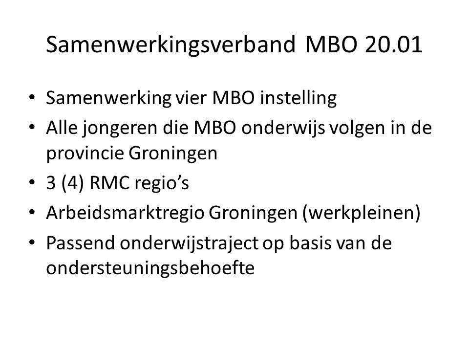 Samenwerkingsverband MBO 20.01 Samenwerking vier MBO instelling Alle jongeren die MBO onderwijs volgen in de provincie Groningen 3 (4) RMC regio's Arbeidsmarktregio Groningen (werkpleinen) Passend onderwijstraject op basis van de ondersteuningsbehoefte