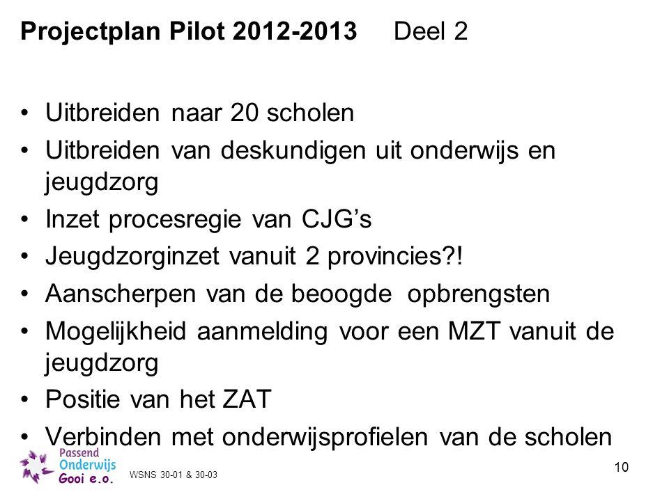 10 Projectplan Pilot 2012-2013 Deel 2 Uitbreiden naar 20 scholen Uitbreiden van deskundigen uit onderwijs en jeugdzorg Inzet procesregie van CJG's Jeu