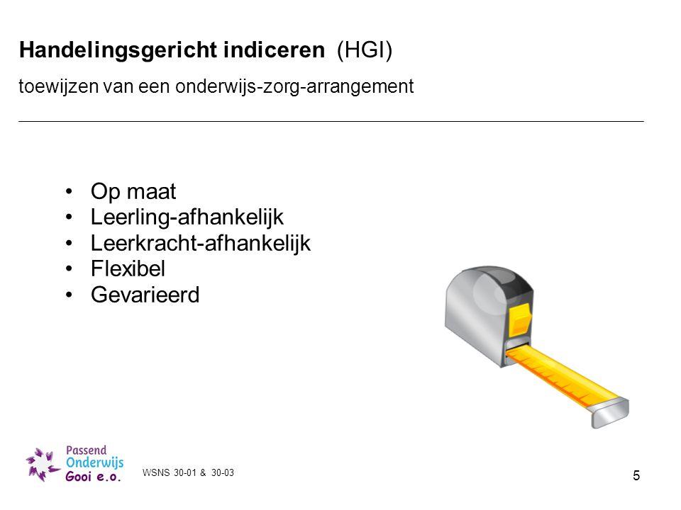 5 Handelingsgericht indiceren (HGI) toewijzen van een onderwijs-zorg-arrangement Op maat Leerling-afhankelijk Leerkracht-afhankelijk Flexibel Gevariee