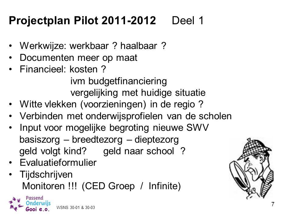 7 Projectplan Pilot 2011-2012 Deel 1 Werkwijze: werkbaar ? haalbaar ? Documenten meer op maat Financieel: kosten ? ivm budgetfinanciering vergelijking