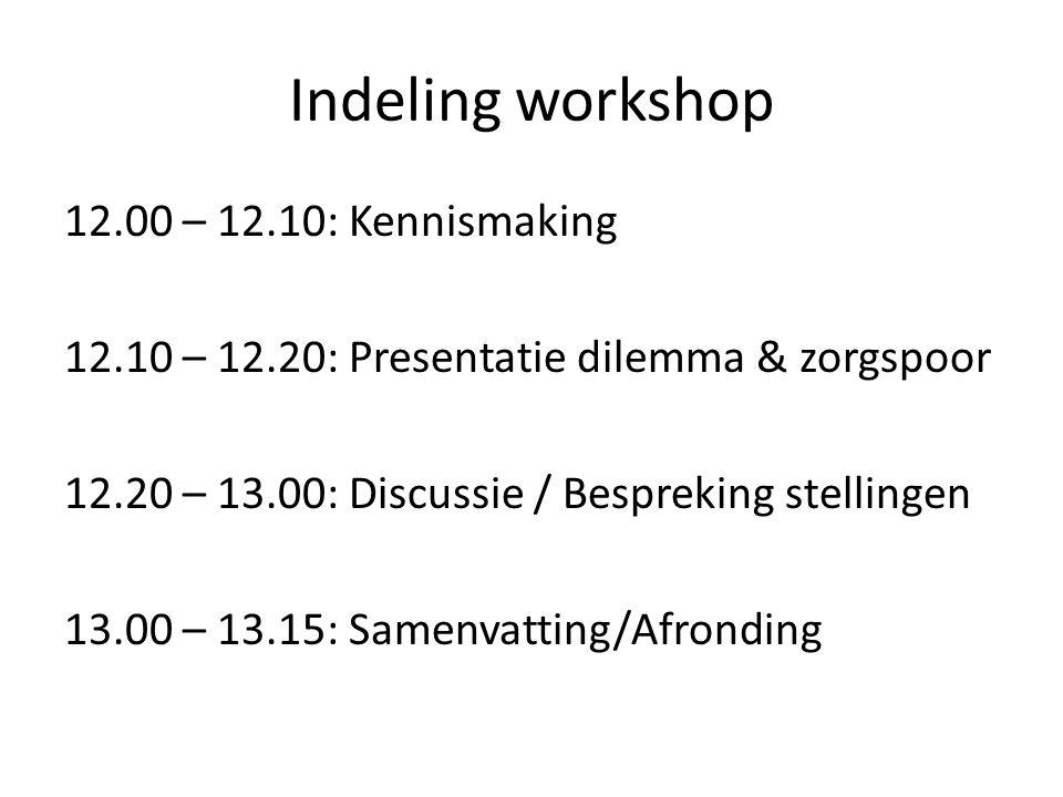 Indeling workshop 12.00 – 12.10: Kennismaking 12.10 – 12.20: Presentatie dilemma & zorgspoor 12.20 – 13.00: Discussie / Bespreking stellingen 13.00 –