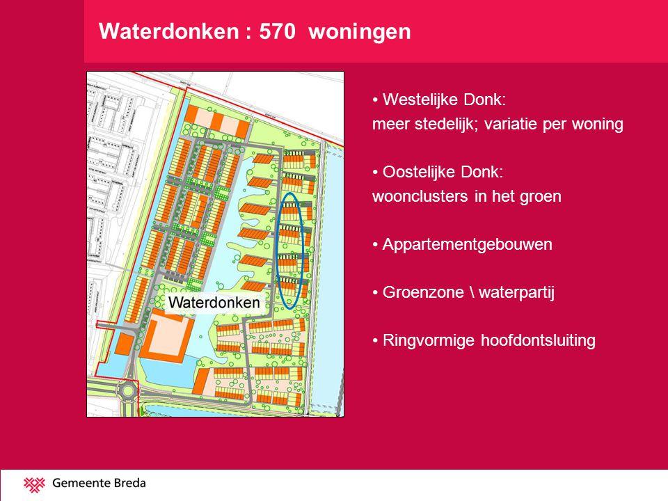 Westelijke Donk: meer stedelijk; variatie per woning Oostelijke Donk: woonclusters in het groen Appartementgebouwen Groenzone \ waterpartij Ringvormig