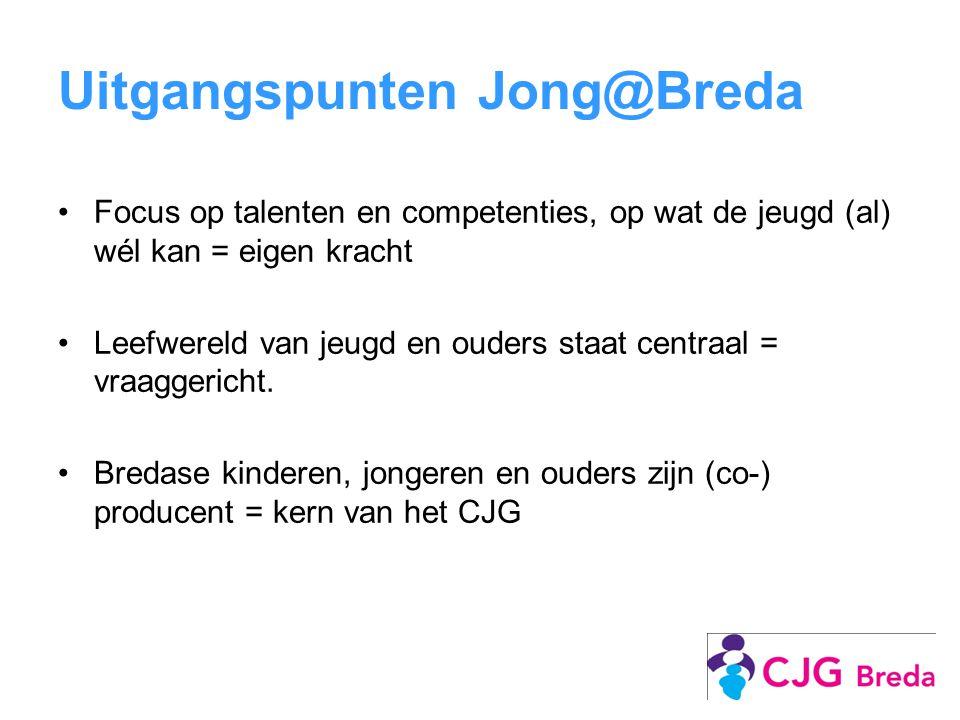 Uitgangspunten Jong@Breda Focus op talenten en competenties, op wat de jeugd (al) wél kan = eigen kracht Leefwereld van jeugd en ouders staat centraal = vraaggericht.