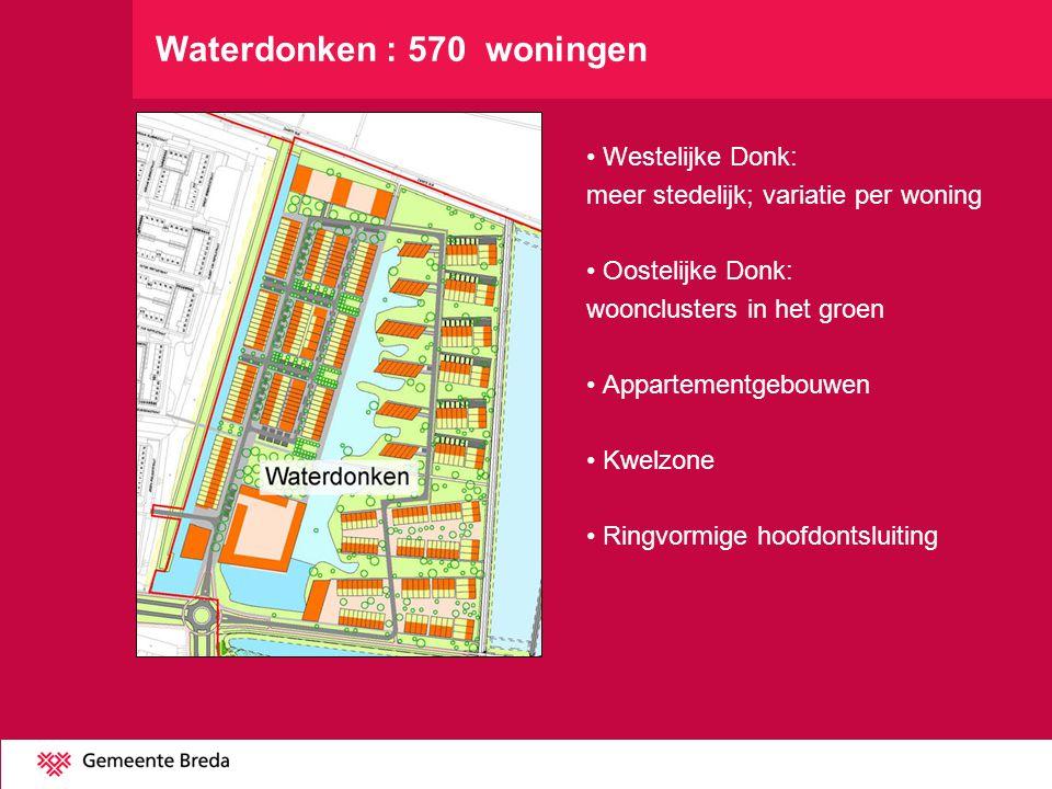 Westelijke Donk: meer stedelijk; variatie per woning Oostelijke Donk: woonclusters in het groen Appartementgebouwen Kwelzone Ringvormige hoofdontsluit