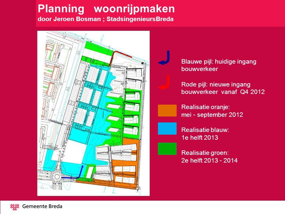 Planning woonrijpmaken door Jeroen Bosman ; StadsingenieursBreda Blauwe pijl: huidige ingang bouwverkeer Rode pijl: nieuwe ingang bouwverkeer vanaf Q4