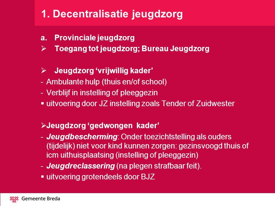 1. Decentralisatie jeugdzorg a.Provinciale jeugdzorg  Toegang tot jeugdzorg; Bureau Jeugdzorg  Jeugdzorg 'vrijwillig kader' -Ambulante hulp (thuis e