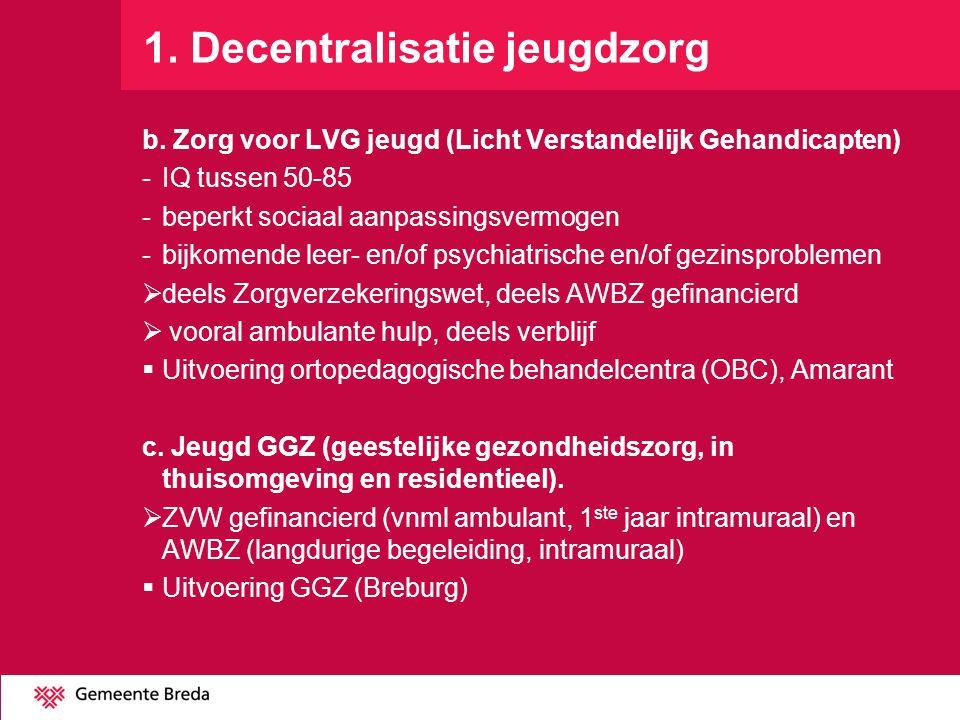1. Decentralisatie jeugdzorg b. Zorg voor LVG jeugd (Licht Verstandelijk Gehandicapten) -IQ tussen 50-85 -beperkt sociaal aanpassingsvermogen -bijkome