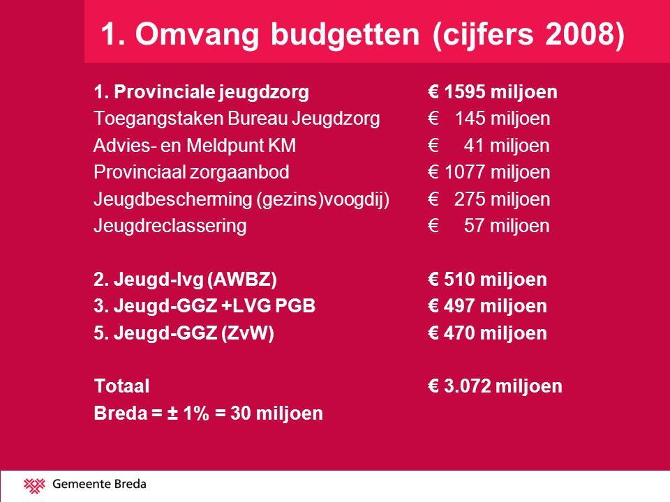 1. Omvang budgetten (cijfers 2008) 1. Provinciale jeugdzorg € 1595 miljoen Toegangstaken Bureau Jeugdzorg € 145 miljoen Advies- en Meldpunt KM€ 41 mil