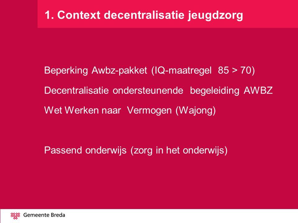 1. Context decentralisatie jeugdzorg Beperking Awbz-pakket (IQ-maatregel 85 > 70) Decentralisatie ondersteunende begeleiding AWBZ Wet Werken naar Verm