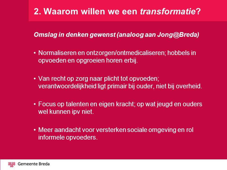 2. Waarom willen we een transformatie? Omslag in denken gewenst (analoog aan Jong@Breda) Normaliseren en ontzorgen/ontmedicaliseren; hobbels in opvoed