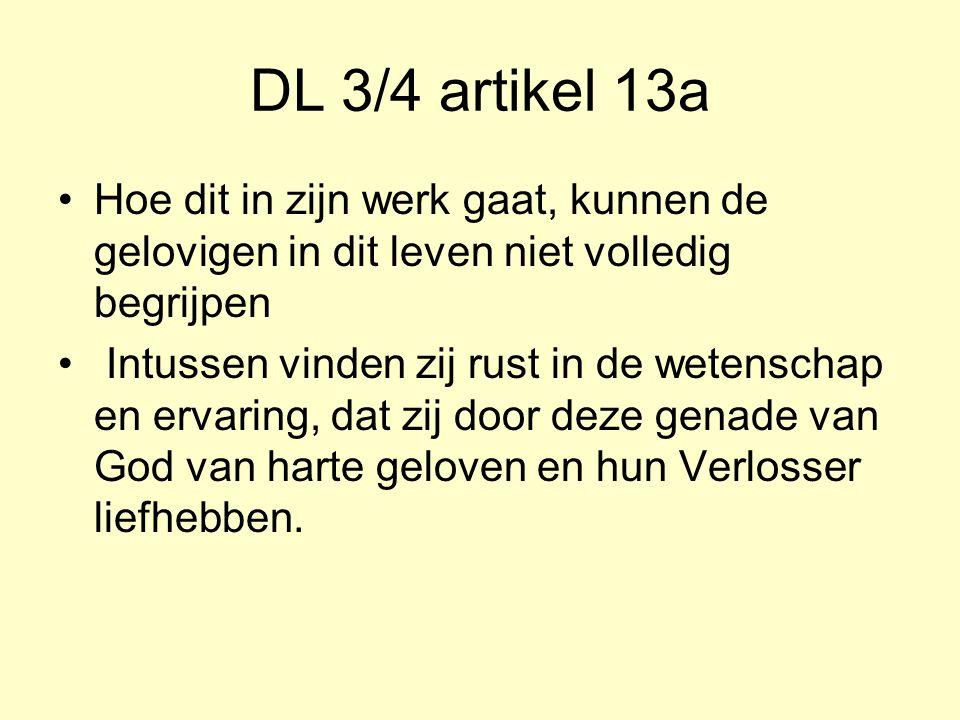 DL 3/4 artikel 13a Hoe dit in zijn werk gaat, kunnen de gelovigen in dit leven niet volledig begrijpen Intussen vinden zij rust in de wetenschap en ervaring, dat zij door deze genade van God van harte geloven en hun Verlosser liefhebben.