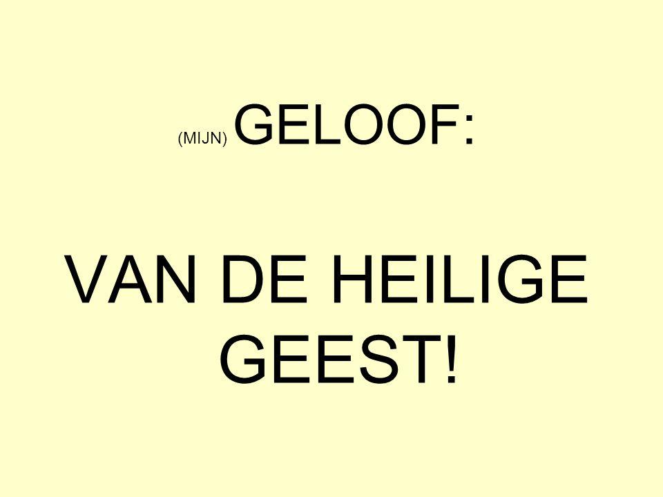 (MIJN) GELOOF: VAN DE HEILIGE GEEST!
