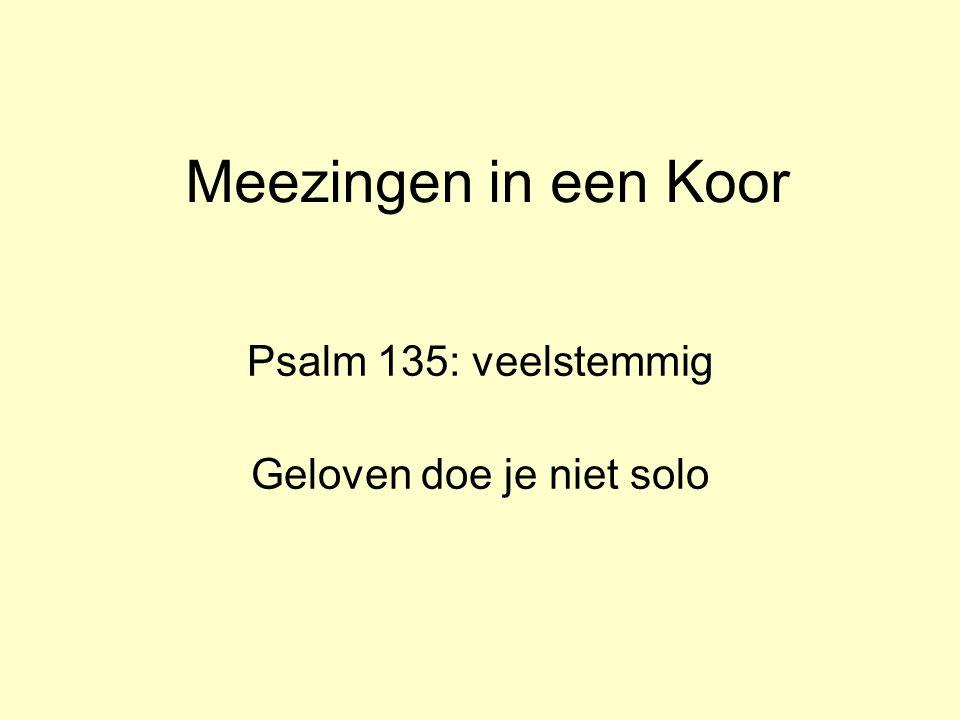 Meezingen in een Koor Psalm 135: veelstemmig Geloven doe je niet solo