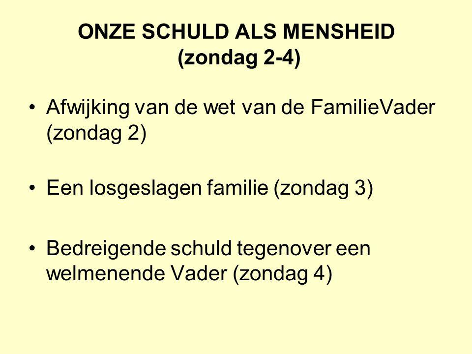 ONZE SCHULD ALS MENSHEID (zondag 2-4) Afwijking van de wet van de FamilieVader (zondag 2) Een losgeslagen familie (zondag 3) Bedreigende schuld tegeno