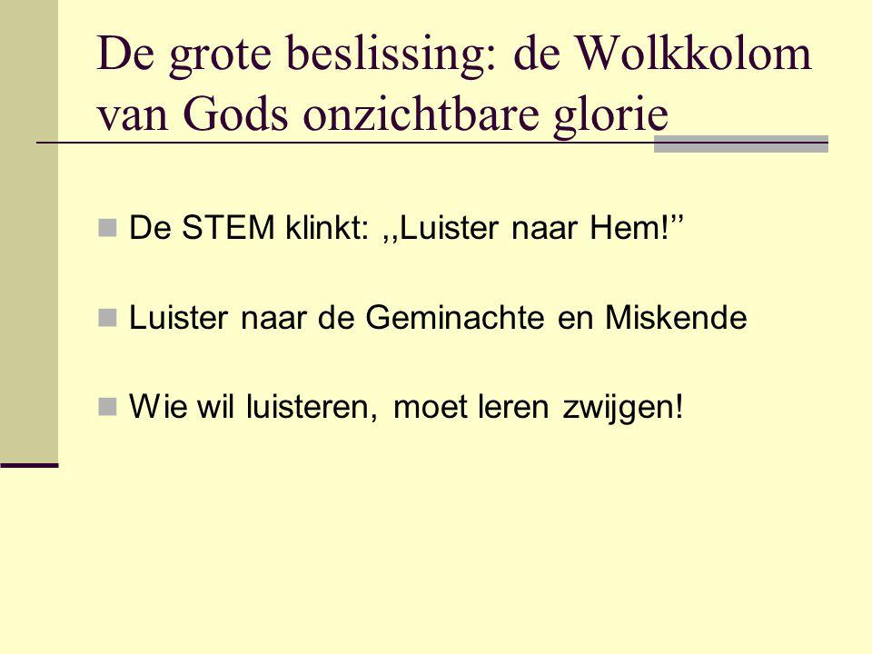 De grote beslissing: de Wolkkolom van Gods onzichtbare glorie De STEM klinkt:,,Luister naar Hem!'' Luister naar de Geminachte en Miskende Wie wil luis