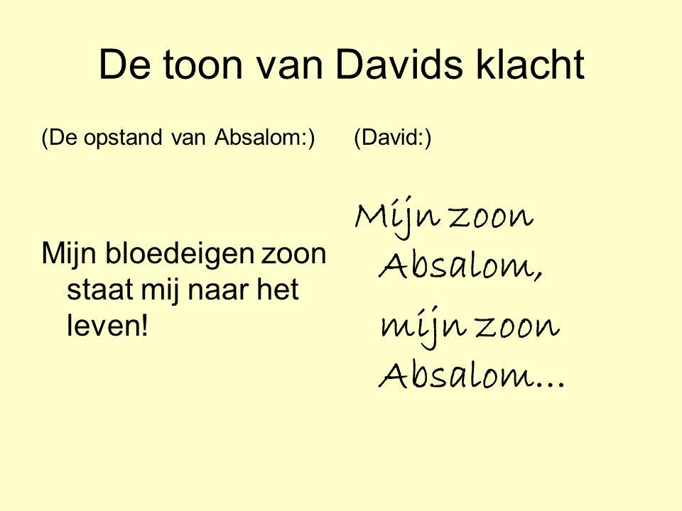 De inhoud van Davids klacht (Joab:) `U zou het beter vinden wanneer Absalom nog in leven was en wij allemaal waren gesneuveld' (David:) Was ik maar dood in plaats van jij…