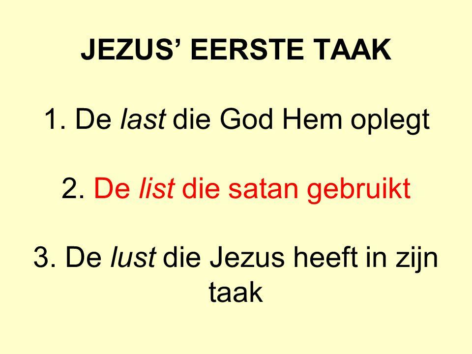 JEZUS' EERSTE TAAK 1.De last die God Hem oplegt 2.