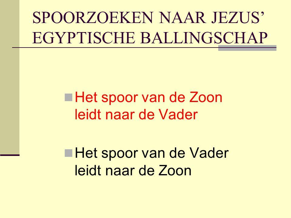 SPOORZOEKEN NAAR JEZUS' EGYPTISCHE BALLINGSCHAP Het spoor van de Zoon leidt naar de Vader Het spoor van de Vader leidt naar de Zoon