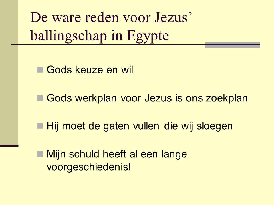 De ware reden voor Jezus' ballingschap in Egypte Gods keuze en wil Gods werkplan voor Jezus is ons zoekplan Hij moet de gaten vullen die wij sloegen Mijn schuld heeft al een lange voorgeschiedenis!