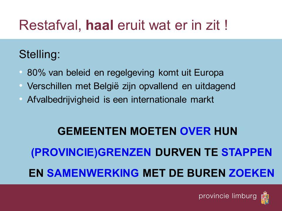 Restafval, haal eruit wat er in zit ! Stelling: 80% van beleid en regelgeving komt uit Europa Verschillen met België zijn opvallend en uitdagend Afval