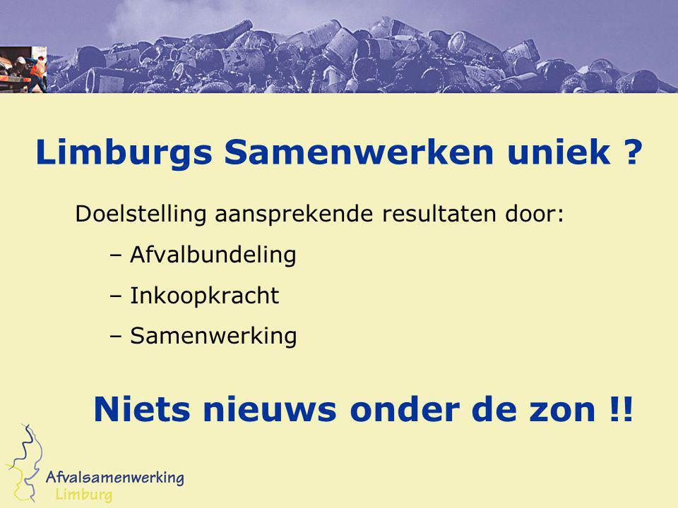 Limburgs Samenwerken uniek ? Doelstelling aansprekende resultaten door: –Afvalbundeling –Inkoopkracht –Samenwerking Niets nieuws onder de zon !!