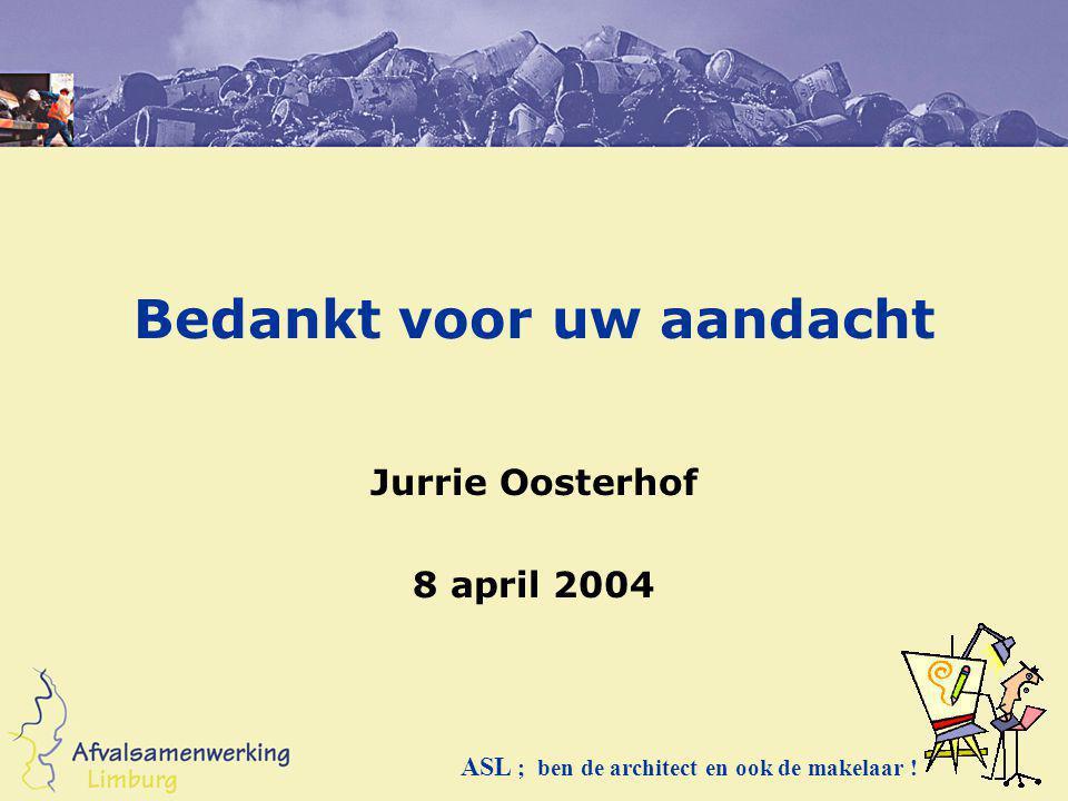 Bedankt voor uw aandacht Jurrie Oosterhof 8 april 2004 ASL ; ben de architect en ook de makelaar !