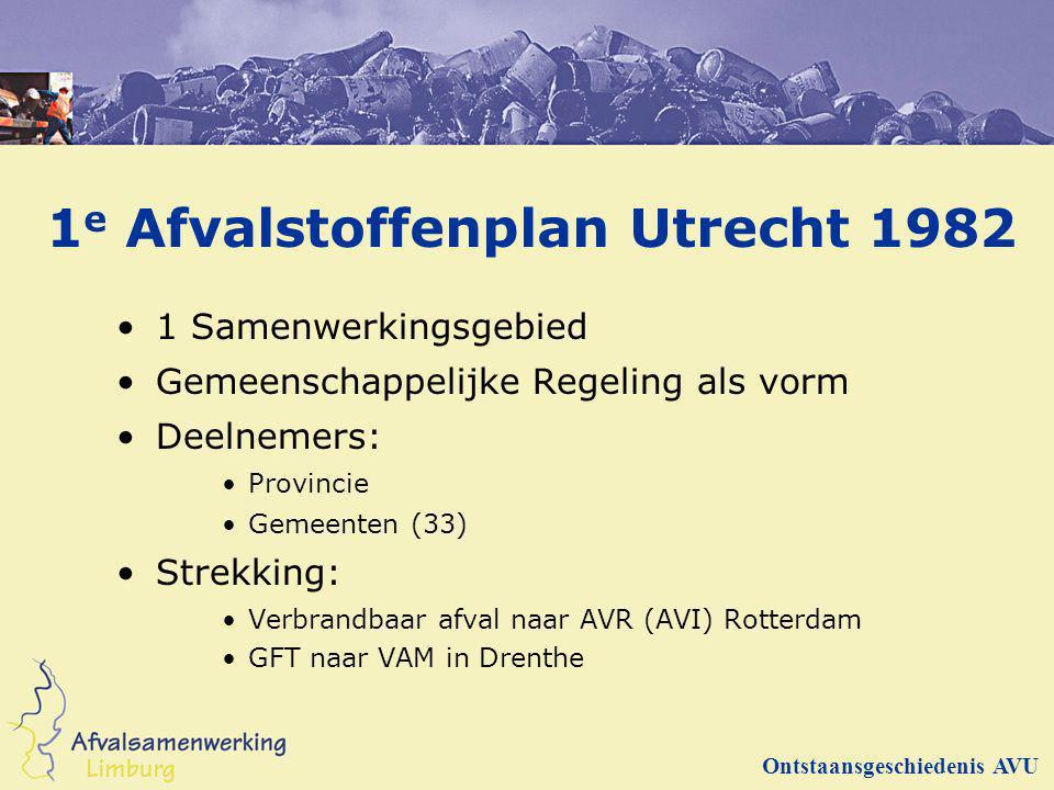 1 e Afvalstoffenplan Utrecht 1982 1 Samenwerkingsgebied Gemeenschappelijke Regeling als vorm Deelnemers: Provincie Gemeenten (33) Strekking: Verbrandb