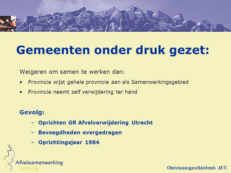 Andere resultaten 55 Sorteeranalyses in Utrecht gedurende 5 jaar (vergelijking: Rijk 10 analyses) Aanbesteding inzameling voor 13 gemeenten Regionale milieustraat in 3 gemeenten Kringloopbedrijven Invulling rol AVU als afvalmakelaar