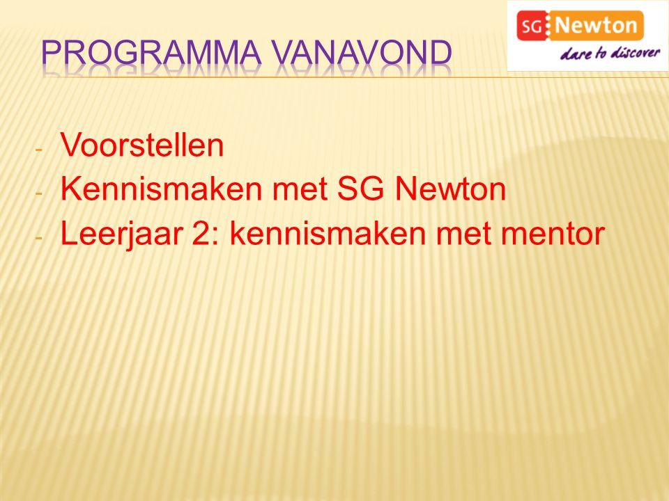 - Voorstellen - Kennismaken met SG Newton - Leerjaar 2: kennismaken met mentor