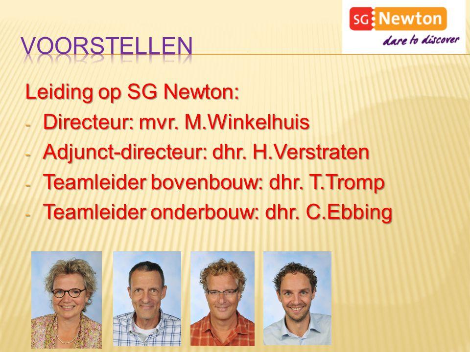 Leiding op SG Newton: - Directeur: mvr.M.Winkelhuis - Adjunct-directeur: dhr.